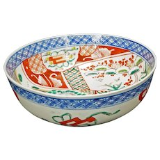 Deep Japanese Colored Imari Porcelain Bowl Early 20th Century