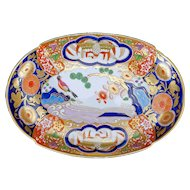 English Lobed Early Coalport Oval Porcelain Dish Circa 1805