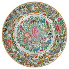 Chinese Porcelain Thousand Butterfly Design Plate 19th Century