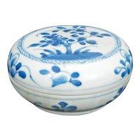 Chinese Blue and White Porcelain Paste Box Kangxi Period c 1700