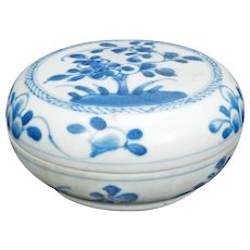 Chinese Blue and White Porcelain Paste Box Kangxi Period c 1700