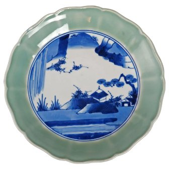 Japanese Celadon Rimmed Charger with Chenghua Reign Mark Early to Mid 19th Century