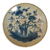 Chinese Swatow Porcelain Crackle Ware Blue and White Dish 17th Century