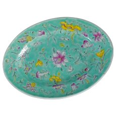 Chinese Turquoise Over Glaze Enamel Porcelain Oval Plate Late 19th Century
