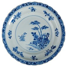 Antique Chinese Qianlong Blue and White Porcelain Plate 18th Century