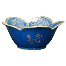 "Chinese Porcelain Powder Blue Gilt 5"" Lotus Bowl 19th Century"