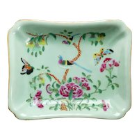 Chinese Qing Rectangular Celadon Dish with Polychrome Enamels 19th Century