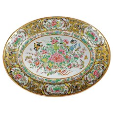 """Large Chinese Porcelain Thousand Butterfly 15 1/2"""" Oval Platter Circa 1850"""