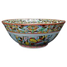 Chinese 1000 Butterfly Polychrome Porcelain Punch bowl Circa 1920
