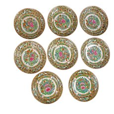 Set of 8 Chinese Thousand Butterfly Porcelain Saucers/Small Plates circa 1900