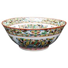 Chinese Thousand Butterfly Polychrome Porcelain Punch Bowl Circa 1920