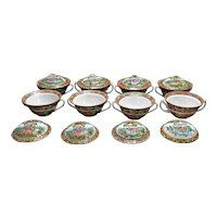 Set of Eight Chinese Export Covered Soup Bowls Butterfly Pattern Circa 1900