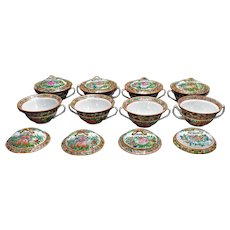 Set of Eight Chinese Export Covered Soup Bowls Rose Medallion Butterfly Pattern Circa 1900
