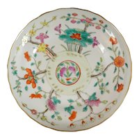 Chinese Porcelain Polychrome Plate with Tongzhi Reign Mark Late 19th Century