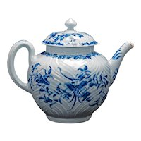 English Caughley Soft Paste Blue and White Teapot circa 1770