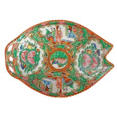 Small Chinese Rose Medallion Notched Leaf Dish Circa 1920