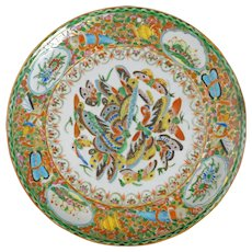 Chinese Thousand Butterfly Polychrome Porcelain Plate Circa 1850
