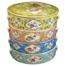 Chinese Polychrome Nyonya Stacking Porcelain Food Container Circa 1900