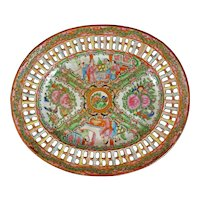 Chinese Rose Medallion Reticulated Serving Dish Circa 1920