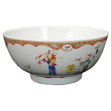 Chinese Export Polychrome Bowl Family at Leisure Early to Mid-18th C