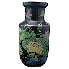 Chinese Famille Noire Kangxi-Style Porcelain Vase Late Qing
