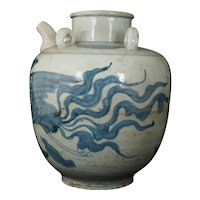 Chinese Ming Large Blue and White Porcelain Oil Jar with Phoenix