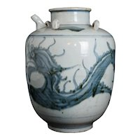 Very Large Chinese Ming Blue and White Provincial Porcelain Oil Jar with Dragon