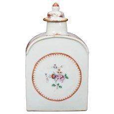Chinese Export Famille Rose Porcelain Tea Caddy 18th/19th Century