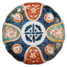 Japanese Imari Plate with Cranes and Dragons 19th century