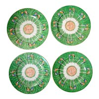 Set of Four Chinese Cabbage Plates late 19th Century