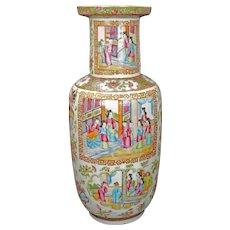 Antique Large Chinese Polychrome Rose Mandarin Rouleau Vase Circa 1840