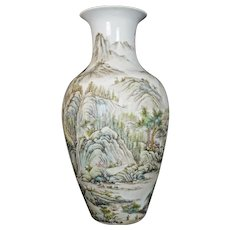 Large Chinese Republic Polychrome Vase with Landscape