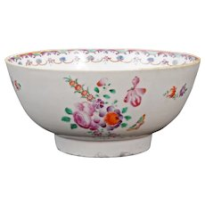 Chinese Export  18th Century Serving Bowl with Roses