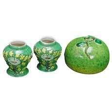 Molded Chinese Porcelain Pear and Small Green Vases Circa 1900