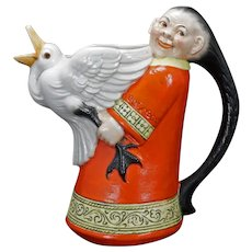 German Schafer und Vater Folk Woman with Goose Large Pitcher