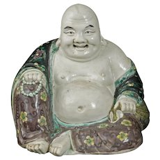 Chinese Famille Verte Porcelain Polychrome Buddha Late Qing