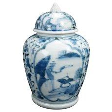 Early Japanese Edo Arita Blue and White Small Lidded Jar 17th/18th C