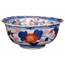 Japanese Imari Scalloped Rim Deep Bowl 19th Century