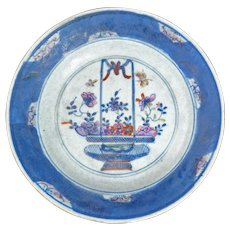 Chinese Polychrome Plate with Flower Basket Design 18th Century