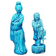 Chinese Republic Pair of Turquoise Figurines Circa 1920