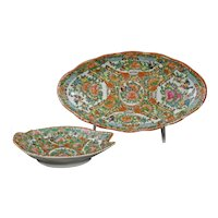 Two Chinese Rose Medallion Serving Dishes Circa 1900