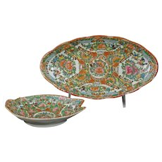 Two Chinese Rose Medallion Serving Dishes Circa 1920