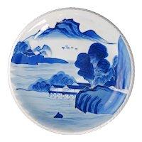 Large Japanese Arita Ware Landscape Plate 19th Century