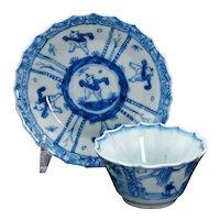 Kangxi Teacup and Saucer Blue and White Porcelain Circa 1700