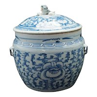 Late Qing Chinese Lidded Blue and White Scrolling Peony Jar