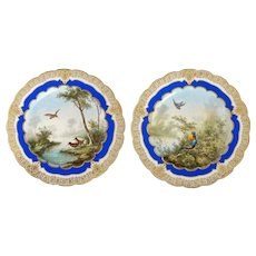 Pair of Hand Painted French Guerin & Cie Limoges Dinner Plates Circa 1915