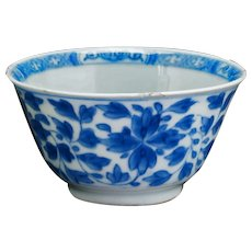 Kangxi Peony Scroll Blue and White Teacup Circa 1700