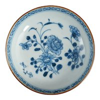 Small Chinese Blue and White Porcelain Dish with Peonies and Grass 18th Century