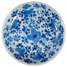 Chinese Kangxi Small Blue and White Porcelain Dish Floral Design Circa 1700