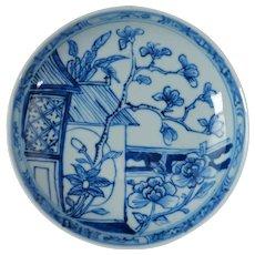 Chinese 18th C Blue and White Dish Magnolia Design
